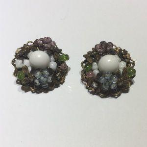 Vintage DeMario glass beaded earrings